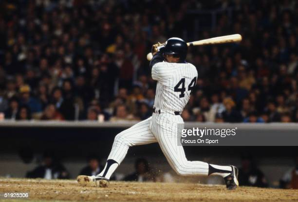 New York Yankees' outfielder Reggie Jackson swings during the World Series against the Los Angeles Dodgers at Yankee Stadium in October of 1978 in...