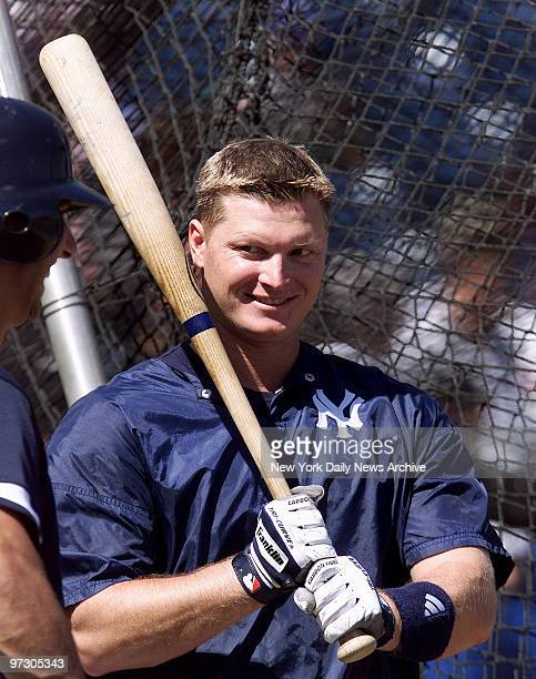 New York Yankees' outfielder Shane Spencer is ready to step into the batting cage at spring training camp in Tampa Fla