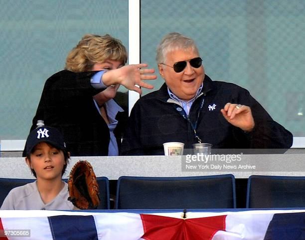 New York Yankees owner George Steinbrenner sits with his daughter Jessica in the owners box at George M Steinbrenner field for the Yankees Spring...