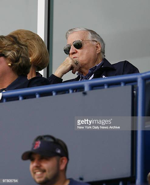 New York Yankees owner George Steinbrenner watches a spring training game between the Yanks and Minnesota Twins from his luxury box at Legends Field.