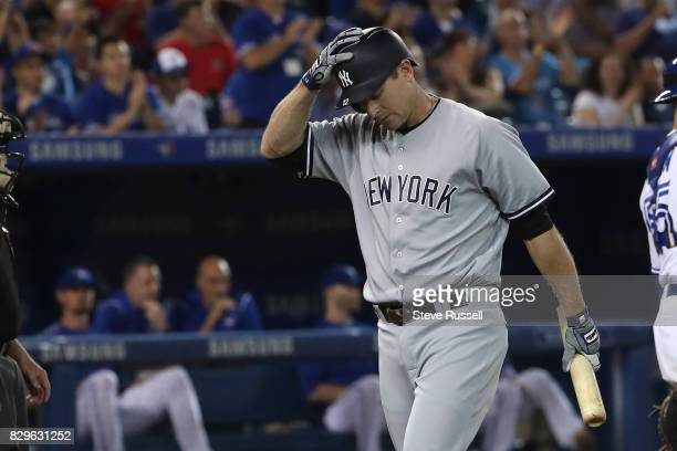 New York Yankees pinch hitter Chase Headley strikes out in the ninth inning as the Toronto Blue Jays shutout the New York Yankees 4-0 at the Rogers...