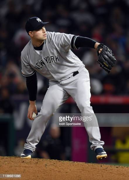 New York Yankees pitcher Adam Ottavino in action during the eighth inning of a game against the Los Angeles Angels played on April 22 2019 at Angel...