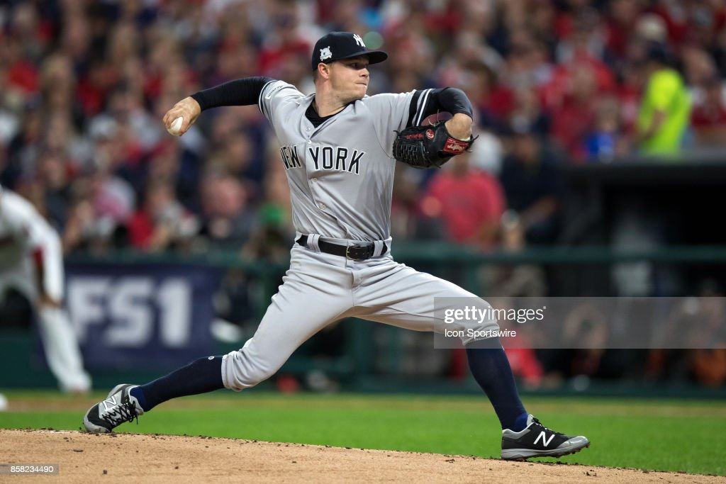 New York Yankees pitcher Bryan Mitchell (55) delivers a pitch to the plate during the first inning of the 2017 American League Divisional Series Game 1 between the New York Yankees and Cleveland Indians on October 5, 2017, at Progressive Field in Cleveland, OH. Cleveland defeated New York 4-0.