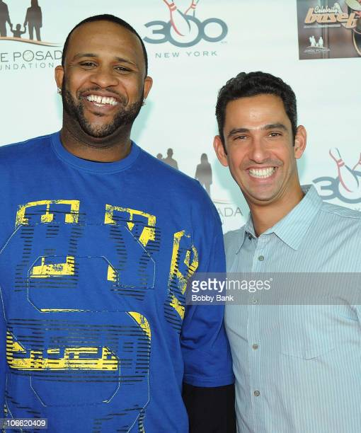 New York Yankees pitcher CC Sabathia and New York Yankees catcher Jorge Posada attend the 2010 Jorge Posada Foundation Celebrity Basebowl on the...
