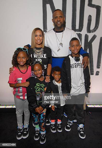 New York Yankees pitcher CC Sabathia his wife Amber and their children who modeled in the show Jaden Cyia Carter and Carsten attend Nike/Levi Kids...
