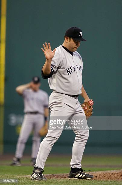 New York Yankees' pitcher Hideki Irabu is on the mound in the third inning against the Boston Red Sox in Game 4 of the American League Championship...