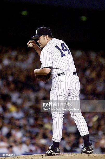 New York Yankees' pitcher Hideki Irabu on the mound against the Oakland Athletics at the Stadium
