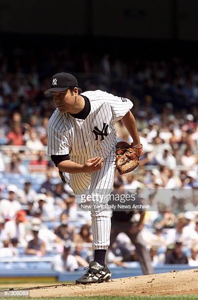 New York Yankees' pitcher Hideki Irabu on the mound against the Toronto Blue Jays at Yankee Stadium