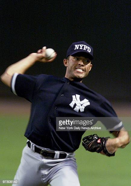 New York Yankees' pitcher Mariano Rivera practices at Bank One Ballpark in Phoenix Ariz on the day before Game 1 of the World Series against the...
