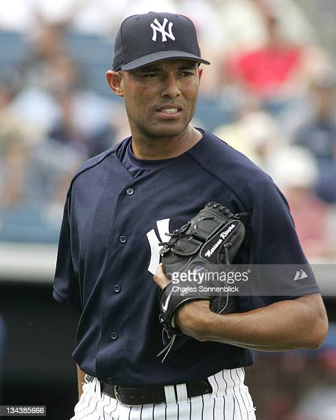 New York Yankees pitcher Mariano Rivera walks off the mound after pitching a shut out inning in a spring training game against the St Louis Cardinals...