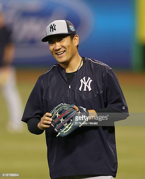 New York Yankees pitcher Masahiro Tanaka prior to action against the Miami Marlins in a spring training exhibition at Marlins Park in Miami on...