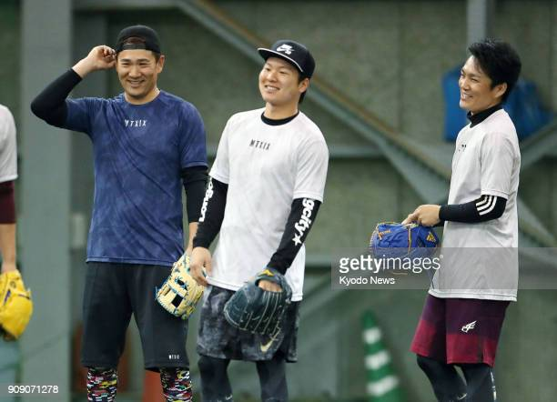 New York Yankees pitcher Masahiro Tanaka smiles during practice at the home of his former club the Rakuten Eagles in Sendai on Jan 23 2018 ==Kyodo