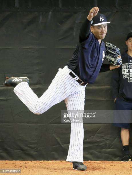 New York Yankees pitcher Masahiro Tanaka throws in the bullpen at the team's spring training camp in Tampa Florida on Feb 15 2019 ==Kyodo