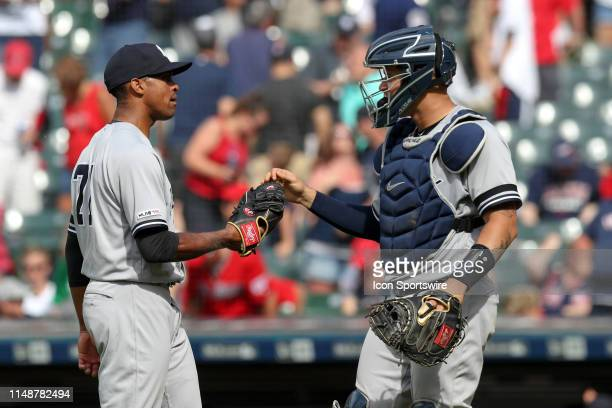 New York Yankees pitcher Stephen Tarpley and New York Yankees catcher Gary Sanchez celebrate following the Major League Baseball game between the New...