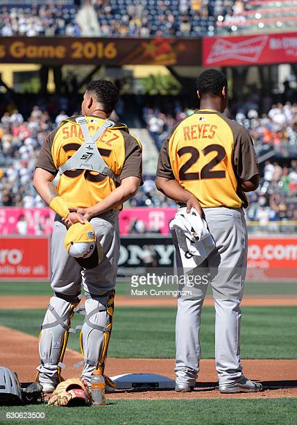 New York Yankees prospect Gary Sanchez and St Louis Cardinals prospect Alex Reyes of the World Team stand together on the field during the National...
