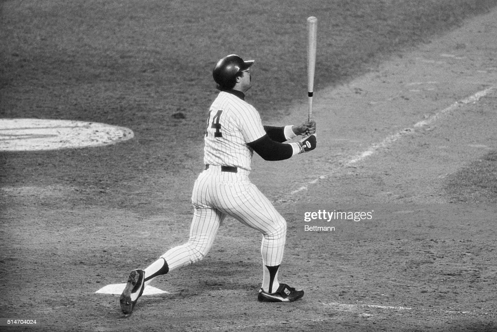 Yankees' Reggie Jackson hits his third homerun of the game against the Dodgers in the 6th game of the World Series. The Yankees won the game 8-4 and the World Series.