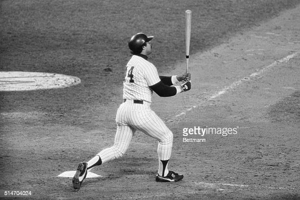 Yankees' Reggie Jackson hits his third homerun of the game against the Dodgers in the 6th game of the World Series The Yankees won the game 84 and...
