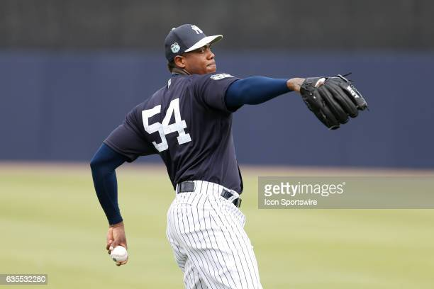 New York Yankees relief pitcher Aroldis Chapman during a New York Yankees spring training workout on February 15 at George M Steinbrenner Field in...
