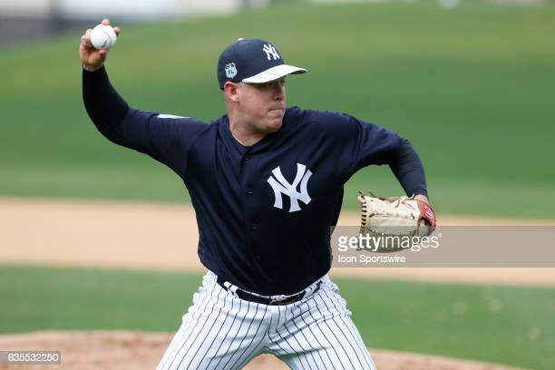 New York Yankees relief pitcher JR Graham during a New York Yankees spring training workout on February 15 at George M Steinbrenner Field in Tampa FL