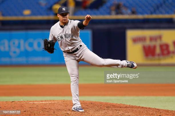 New York Yankees relief pitcher Justus Sheffield delivers a pitch during the regular season MLB game between the New York Yankees and Tampa Bay Rays...