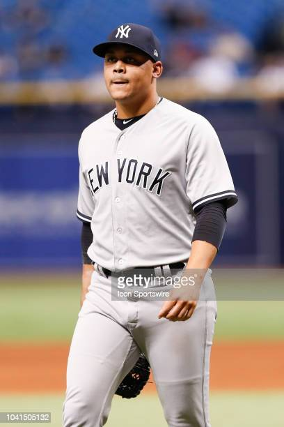 New York Yankees relief pitcher Justus Sheffield during the regular season MLB game between the New York Yankees and Tampa Bay Rays on September 26...