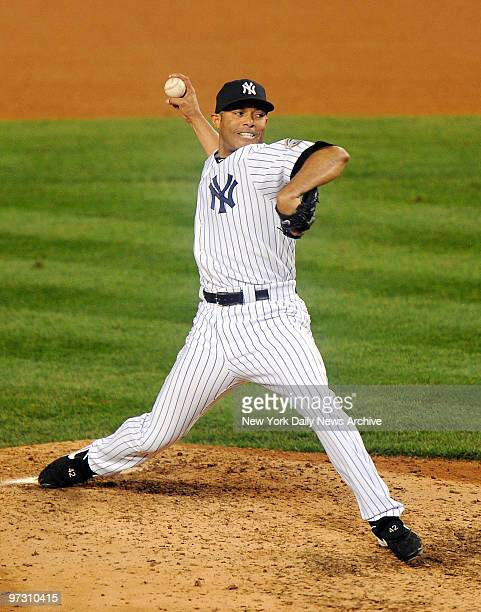 New York Yankees relief pitcher Mariano Rivera pitches in the eighth inning of World Series Game 6 vsthe Philadelphia Phillies at Yankee Stadium...