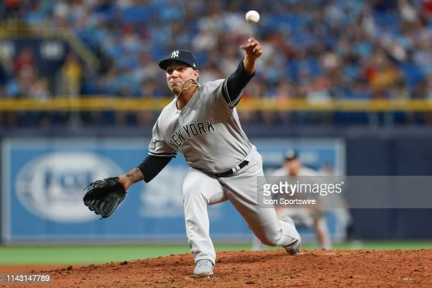 New York Yankees relief pitcher Nestor Cortes Jr delivers a pitch during the MLB game between the New York Yankees and Tampa Bay Rays on May 11 2018...