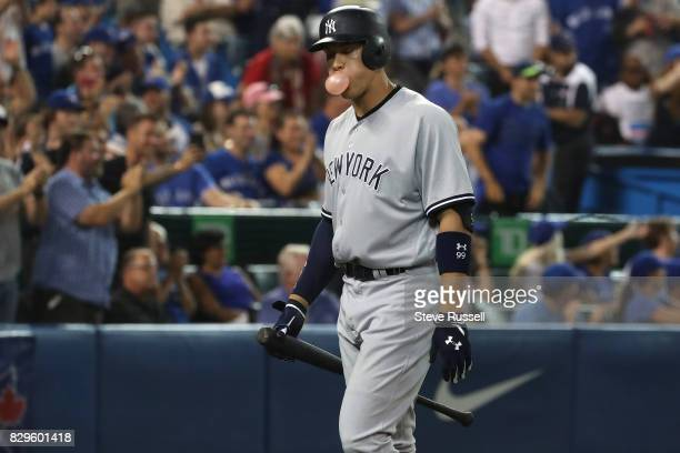 TORONTO ON AUGUST 10 New York Yankees right fielder Aaron Judge blows a bubble after striking out as the Toronto Blue Jays play the New York Yankees...