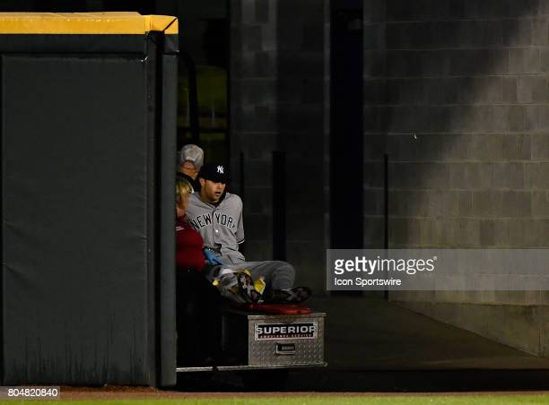New York Yankees right fielder Dustin Fowler leaves the game after injuring his right leg during the game between the New York Yankees and the...