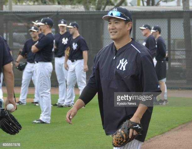 New York Yankees righthander Masahiro Tanaka takes part in the first day of the team's spring training camp in Tampa Florida on Feb 15 2017 Tanaka...