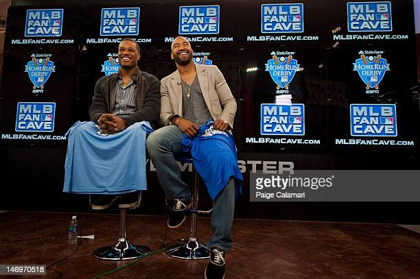 New York Yankees Robinson Cano and Los Angeles Dodgers Matt Kemp are interviewed during the MLB AllStar LeadOff Event June 5 2012 at the MLB Fan Cave...