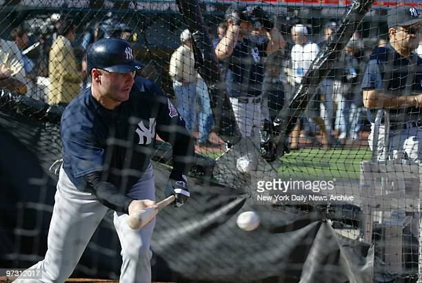 New York Yankees' Roger Clemens takes his turn in the batting cage during practice at Pro Player Stadium as the Yanks prepare to take on the Florida...