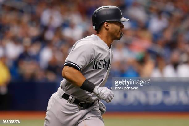 New York Yankees second baseman Gleyber Torres at bat during the regular season MLB game between the New York Yankees and Tampa Bay Rays on June 24...