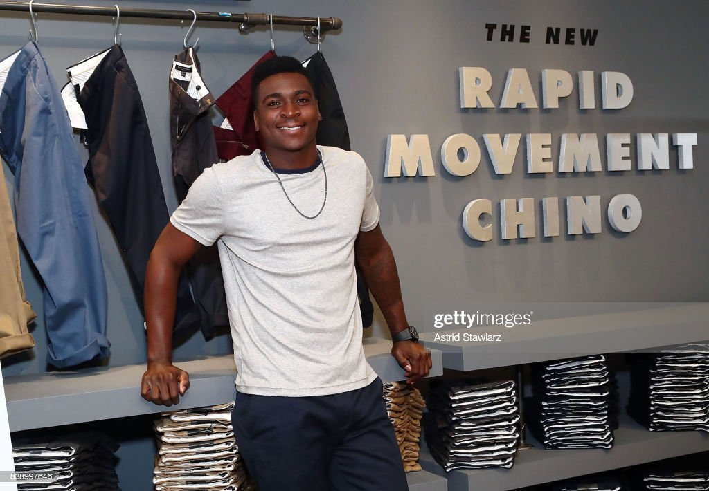 New York Yankee's shortstop Didi Gregorius poses for photos wearing Banana Republic's rapid movement chino on August 25, 2017 in New York City.