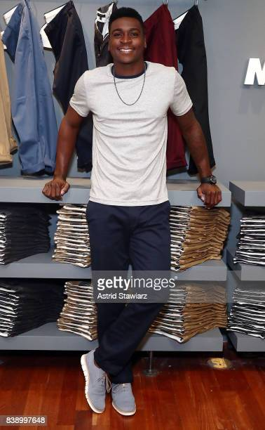 New York Yankee's shortstop Didi Gregorius poses for photos wearing Banana Republic's rapid movement chino on August 25 2017 in New York City
