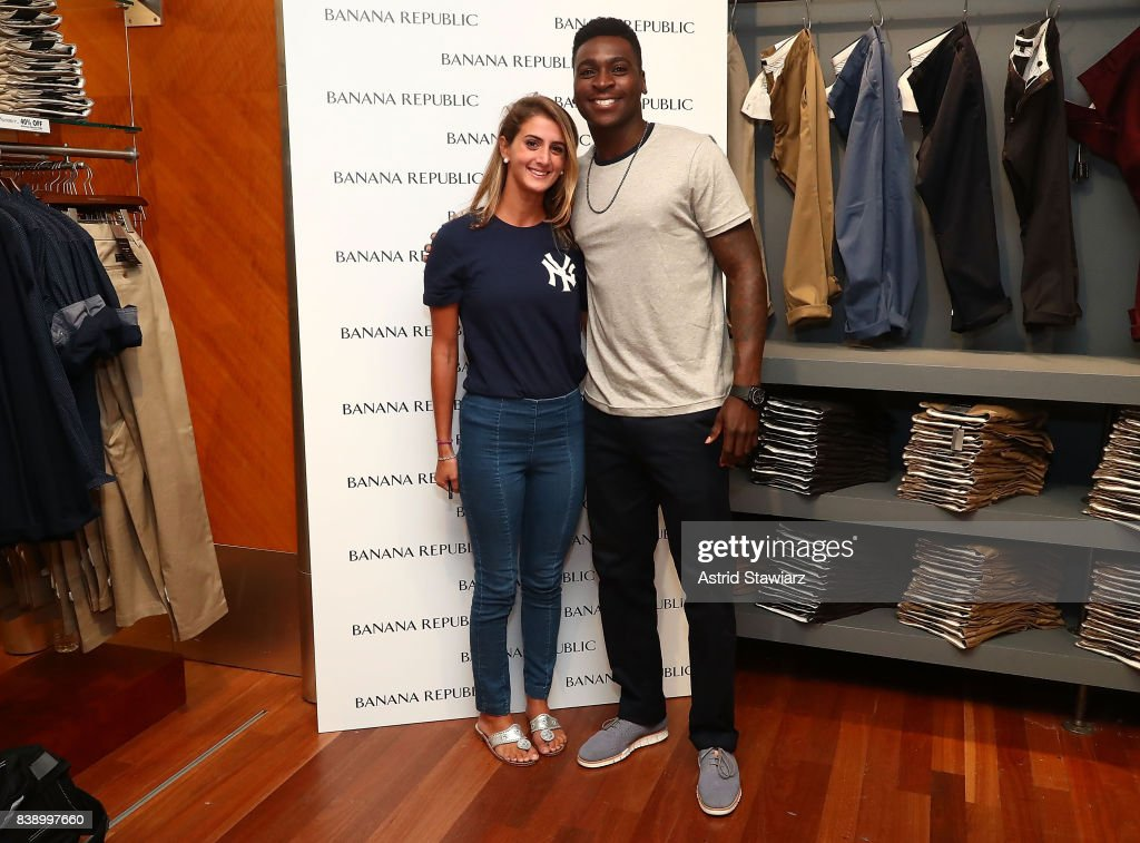New York Yankee's shortstop Didi Gregorius, wearing Banana Republic's rapid movement chino poses for photos with fans on August 25, 2017 in New York City.