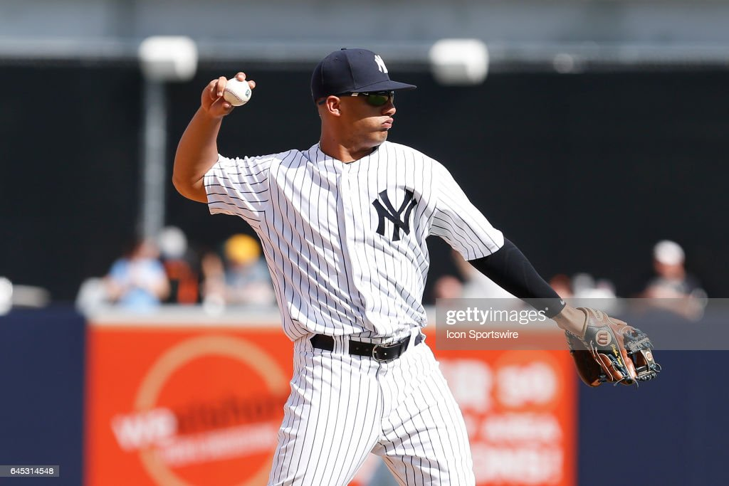 New York Yankees shortstop Gleyber Torres (81) during the Spring Training game between the Philadelphia Phillies and New York Yankees on February 24, 2017, at George M. Steinbrenner Field in Tampa, FL.
