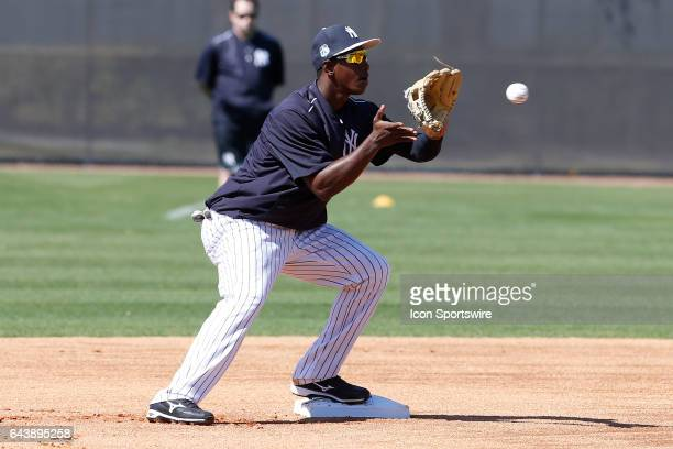 New York Yankees shortstop Jorge Mateo during a New York Yankees spring training workout on February 20 at George M Steinbrenner Field in Tampa FL