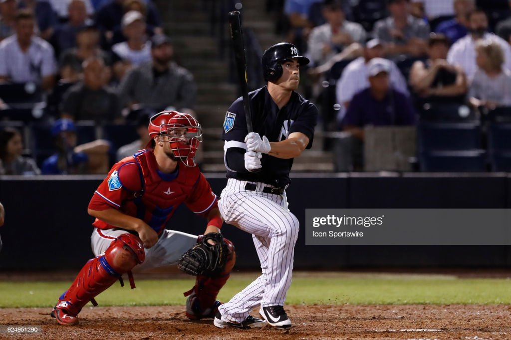 New York Yankees shortstop Tyler Wade (39) at bat during the MLB Spring training game between the Philadelphia Phillies and New York Yankees on February 26, 2018 at George M. Steinbrenner Field in Tampa, FL.