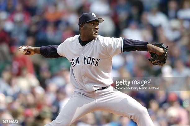 New York Yankees' starter Jose Contreras is on the mound in a game against the Boston Red Sox at Fenway Park Contreras was knocked out of the game...