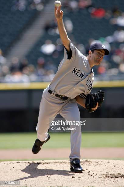 New York Yankees' Starter Mike Mussina pitches during their game versus the Chicago White Sox May 16 2007 at US Cellular Field in Chicago Illinois...