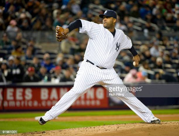 New York Yankees starting pitcher CC Sabathia pitches against the Los Angeles Angels of Anaheim during Game One of the 2009 American League...