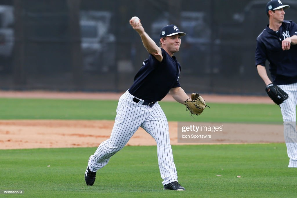 New York Yankees starting pitcher Chance Adams (83) during a New York Yankees spring training workout on February 15, 2017, at George M. Steinbrenner Field in Tampa, FL.
