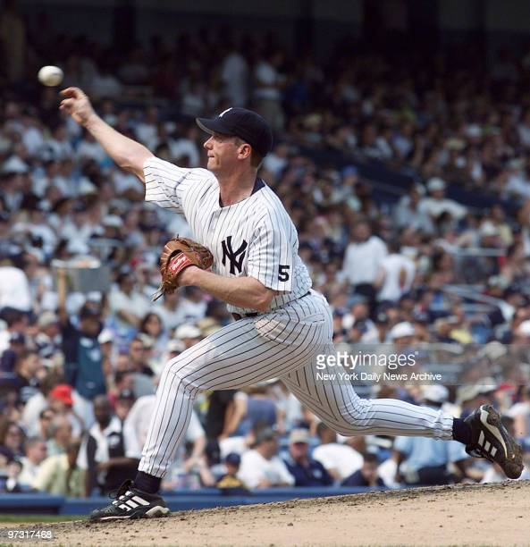 New York Yankees' starting pitcher David Cone en route to pitching a perfect game against the Montreal Expos at Yankee Stadium