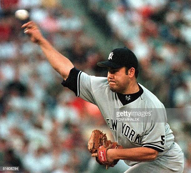 New York Yankees starting pitcher Hideki Irabu hurls a pitch in the third inning of their game against the Philadelphia Phillies 08 June 1999 in...