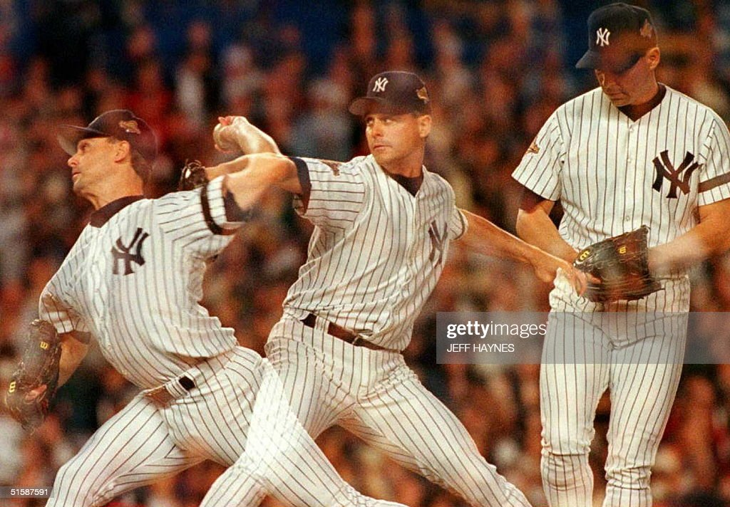 New York Yankees starting pitcher Jimmy Key is sho : News Photo