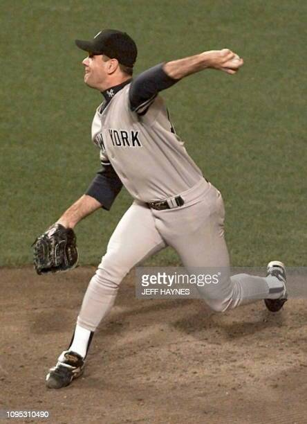 New York Yankees starting pitcher Kenny Rodgers pitches during the first inning of game four of the American League Championship Series against the...