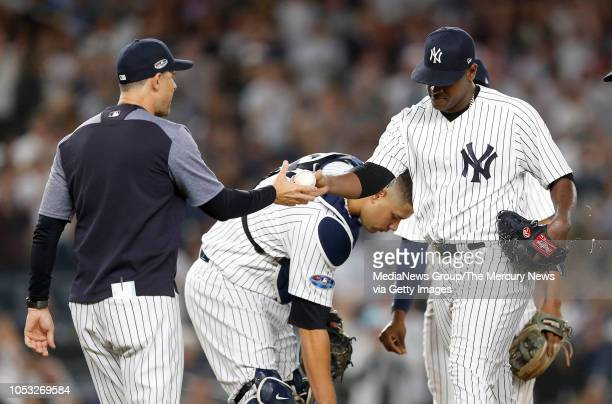 New York Yankees' starting pitcher Luis Severino is pulled from the game my manager Aaron Boone in the fifth inning of their wild-card game in the...