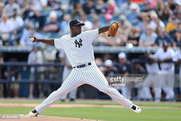 New York Yankees starting pitcher Luis Severino pitches during the first inning of the Spring Training Game against the Detroit Tigers at George...