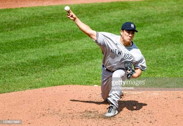 New York Yankees starting pitcher Masahiro Tanaka pitches during the game against the Baltimore Orioles on September 6 at Orioles Park at Camden...